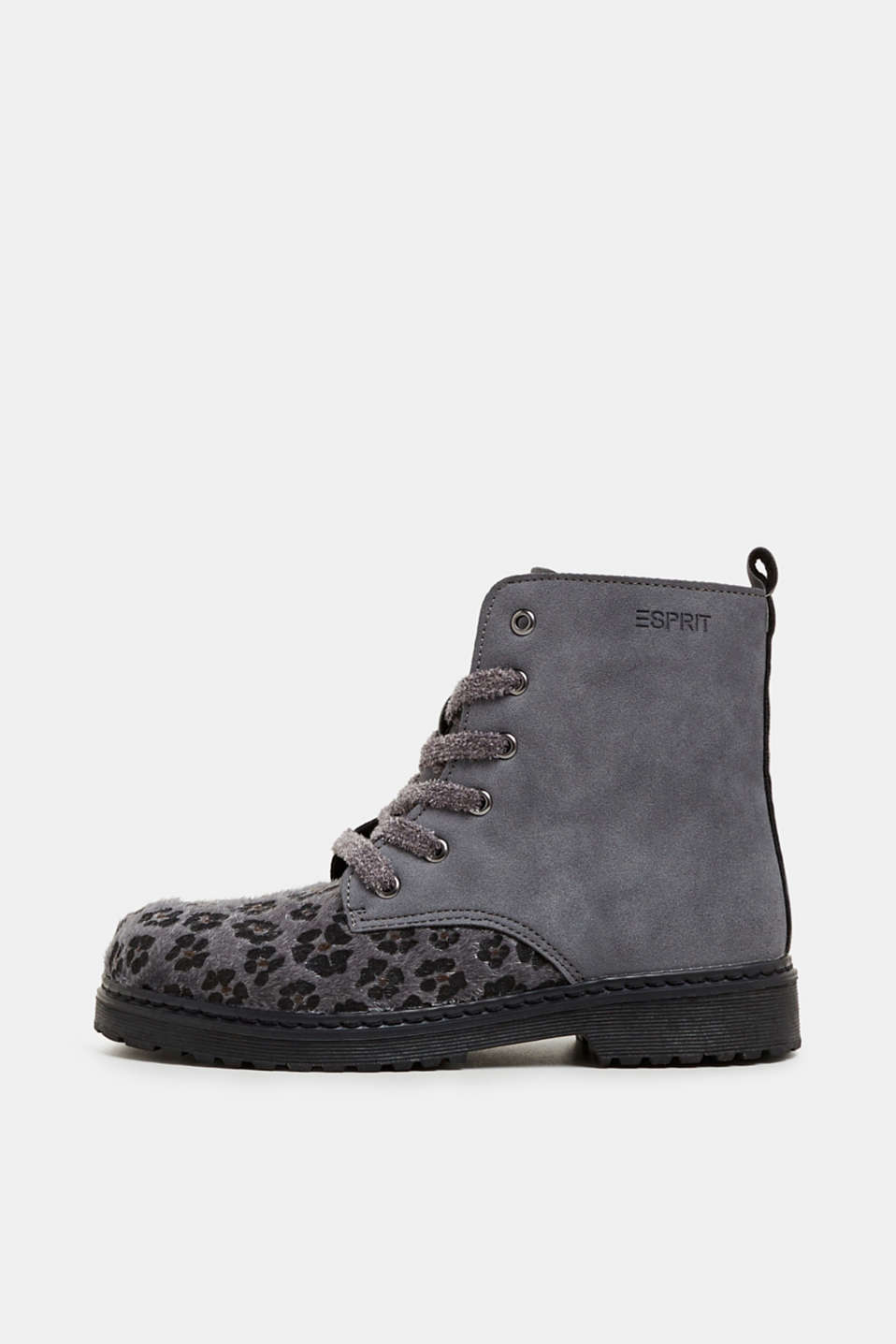 Material mix lace-up boots, GUNMETAL, detail image number 0