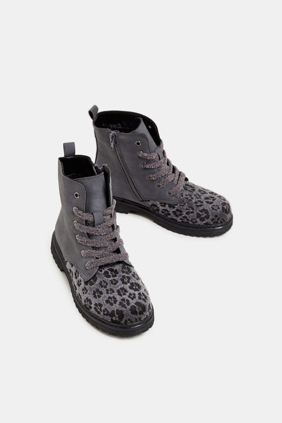 Material mix lace-up boots, GUNMETAL, detail image number 1