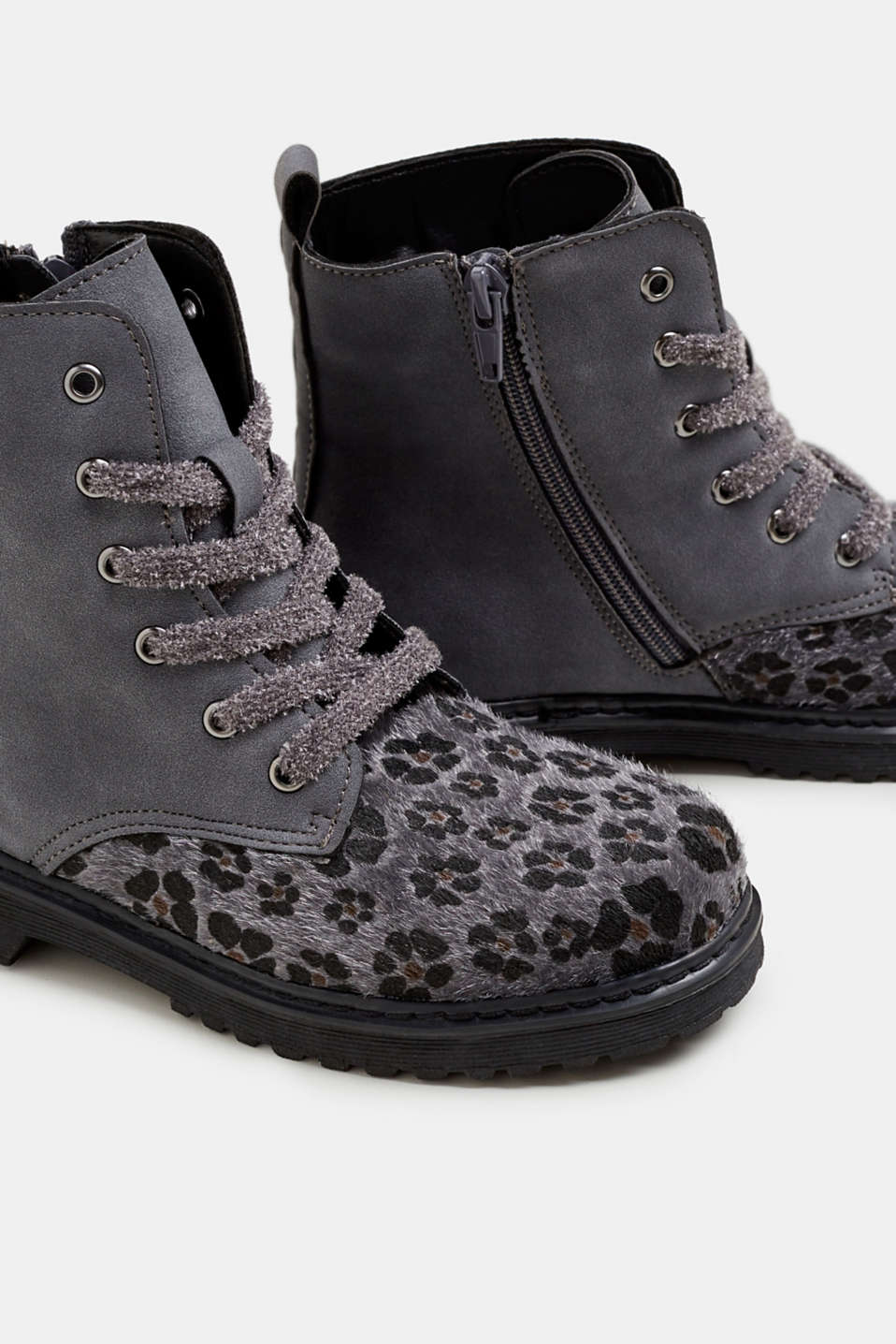 Material mix lace-up boots, GUNMETAL, detail image number 3