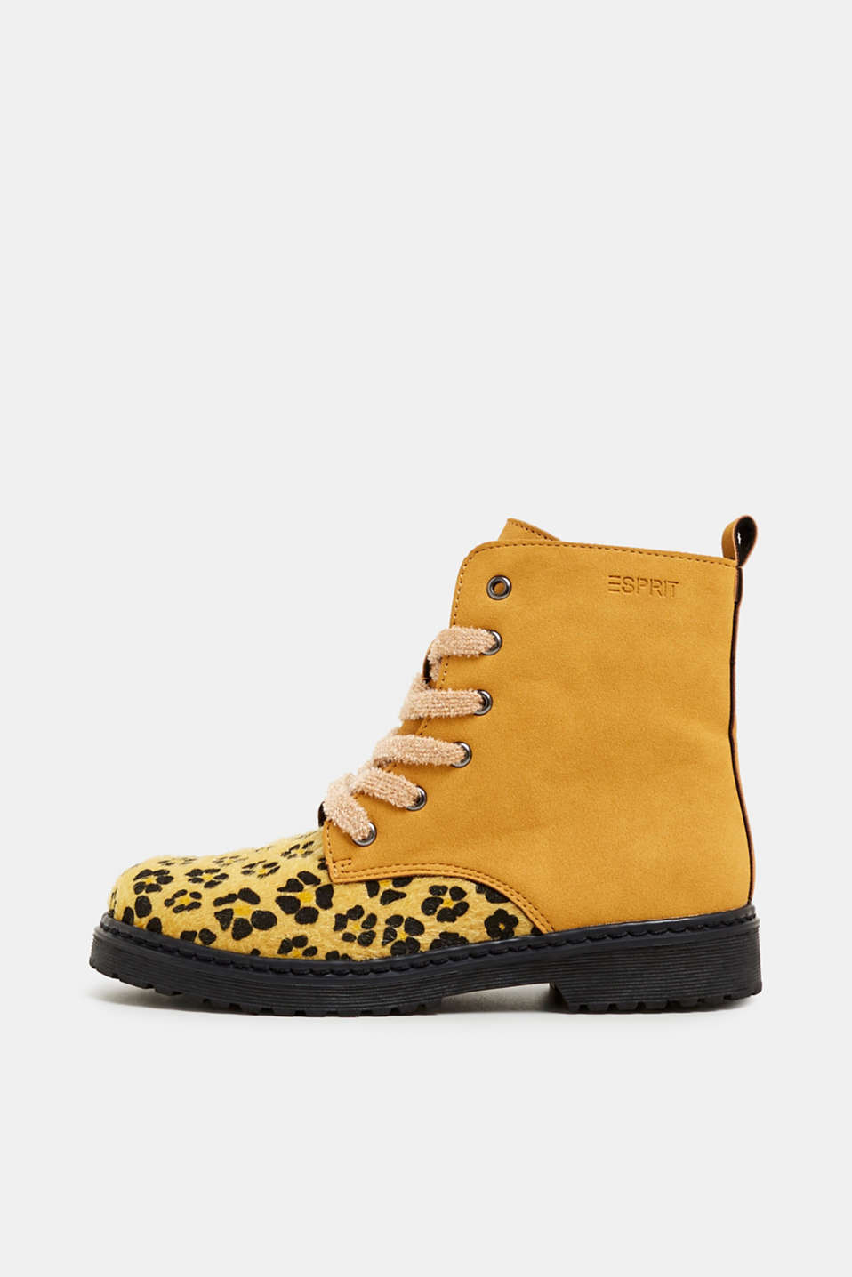 Material mix lace-up boots, BRASS YELLOW, detail image number 0