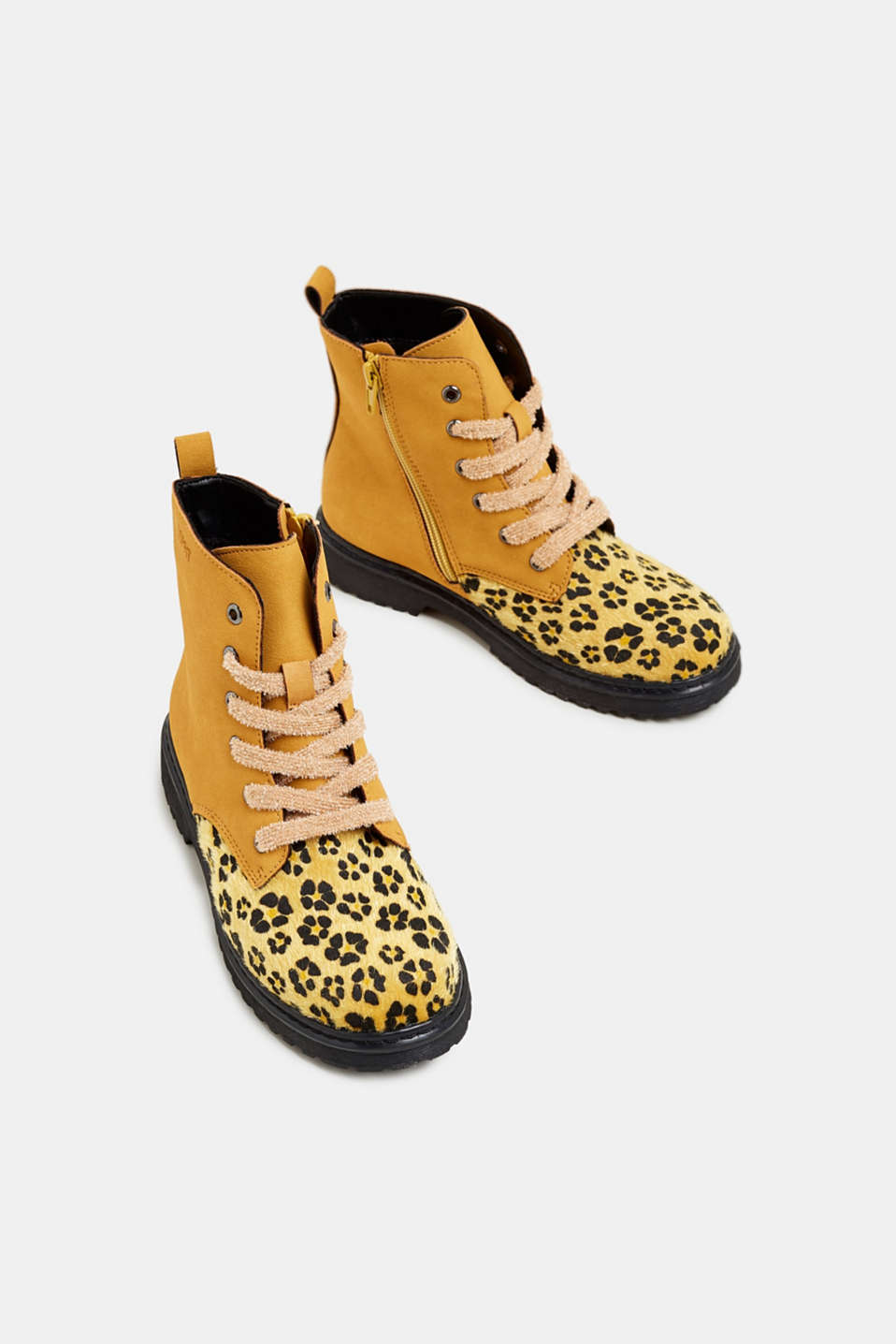 Material mix lace-up boots, BRASS YELLOW, detail image number 1