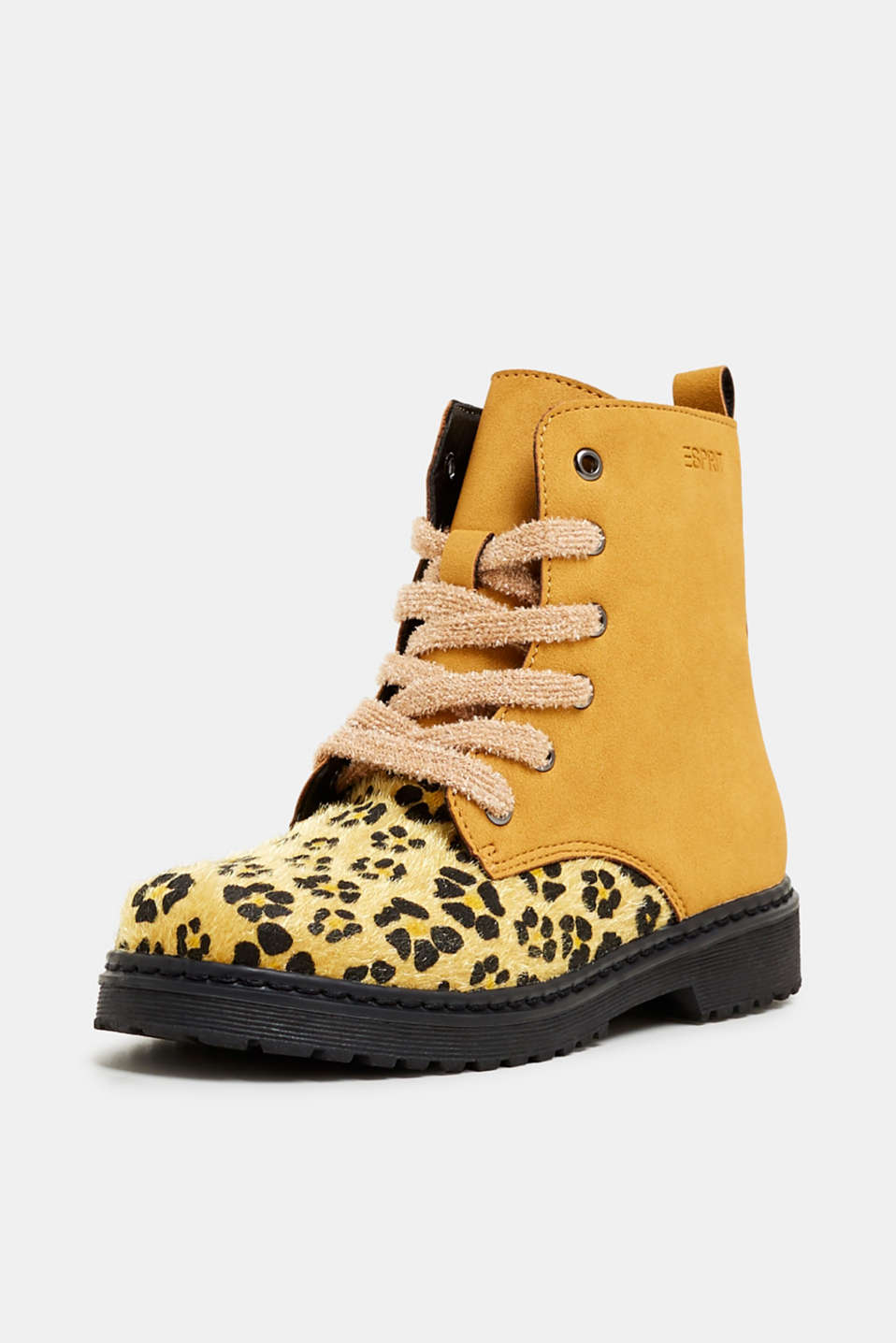 Material mix lace-up boots, BRASS YELLOW, detail image number 2