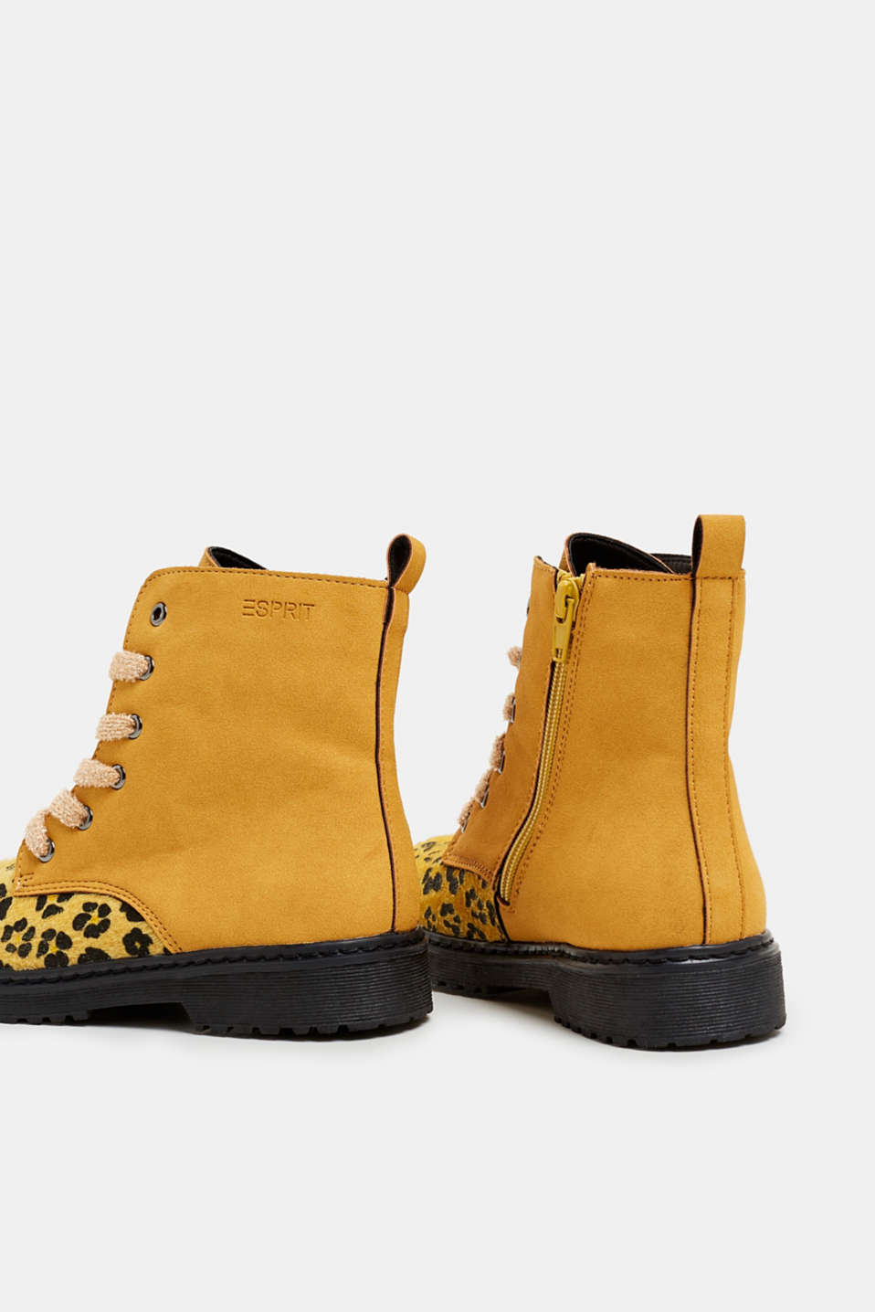Material mix lace-up boots, BRASS YELLOW, detail image number 4