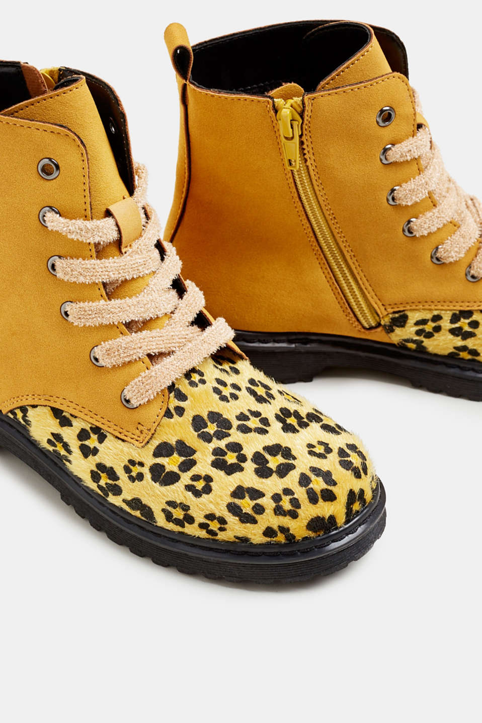 Material mix lace-up boots, BRASS YELLOW, detail image number 3