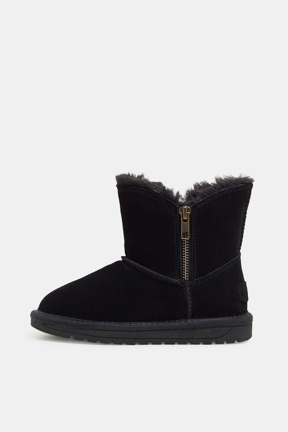 Esprit - Suede ankle boots with faux fur and zips