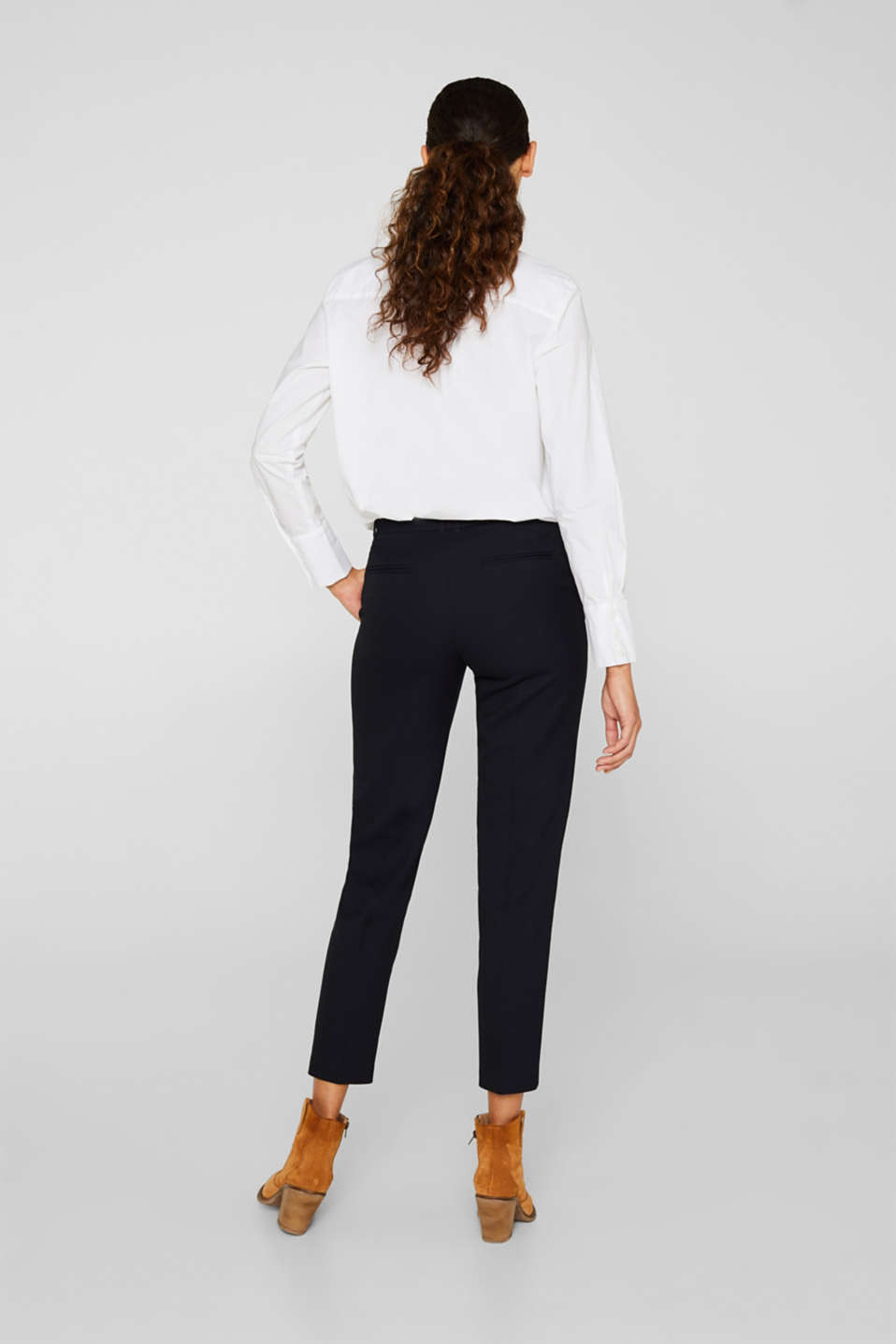 TONE-IN-TONE STRUCTURE Mix + Match Stretch Trousers, NAVY, detail image number 3