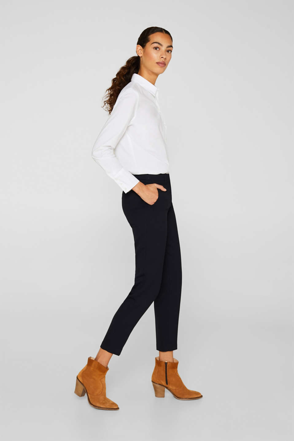 TONE-IN-TONE STRUCTURE Mix + Match Stretch Trousers, NAVY, detail image number 5