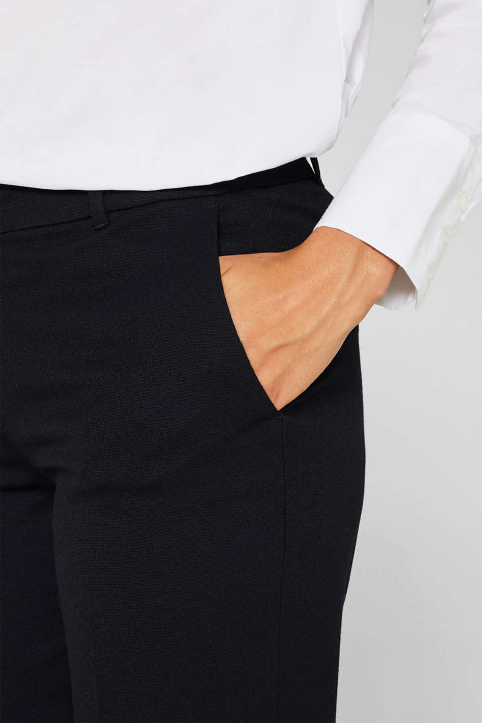 TONE-IN-TONE STRUCTURE Mix + Match Stretch Trousers, NAVY, detail image number 2