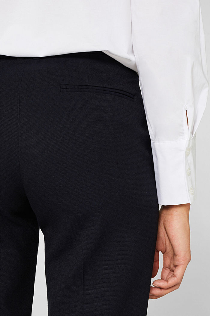 TONE-IN-TONE STRUCTURE Mix + Match Stretch Trousers, NAVY, detail image number 6
