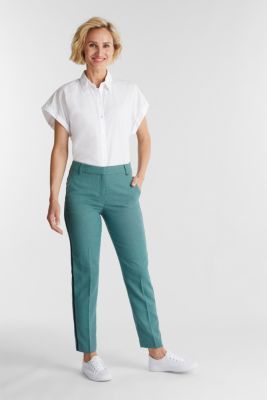 Trousers with a jacquard pattern, DUSTY GREEN, detail