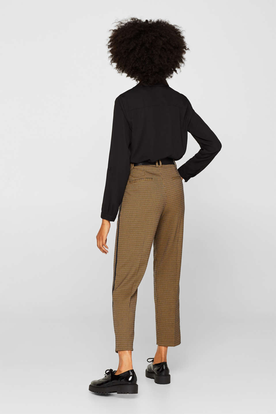 Stretch trousers with a houndstooth pattern and racing stripes, BARK, detail image number 3