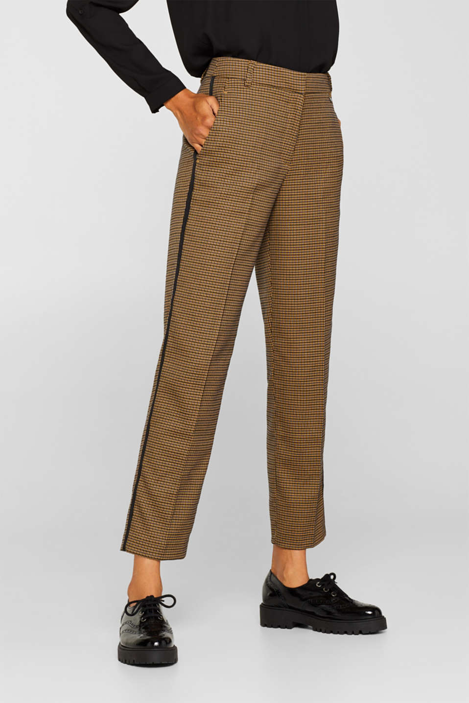 Stretch trousers with a houndstooth pattern and racing stripes, BARK, detail image number 6