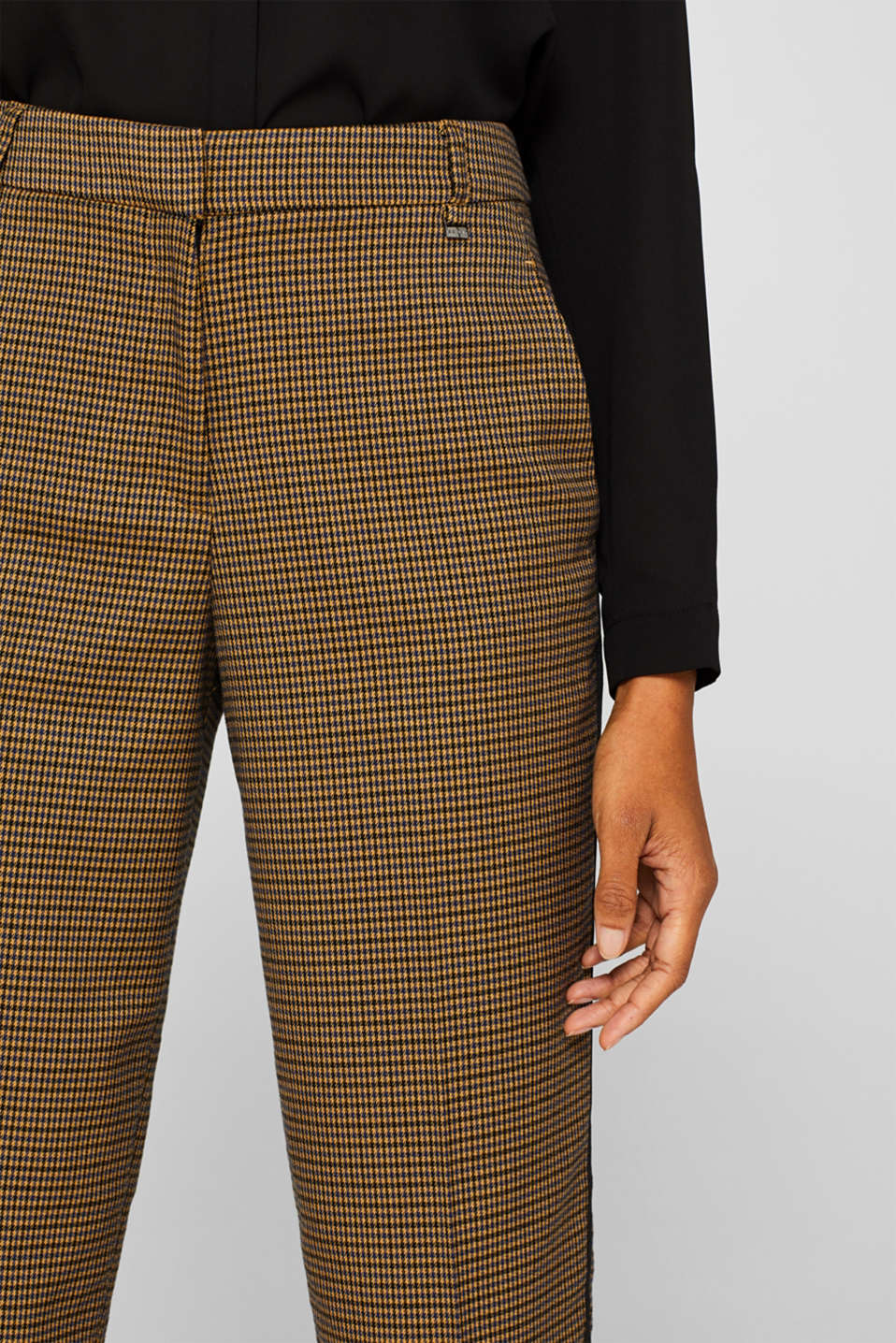 Stretch trousers with a houndstooth pattern and racing stripes, BARK, detail image number 2