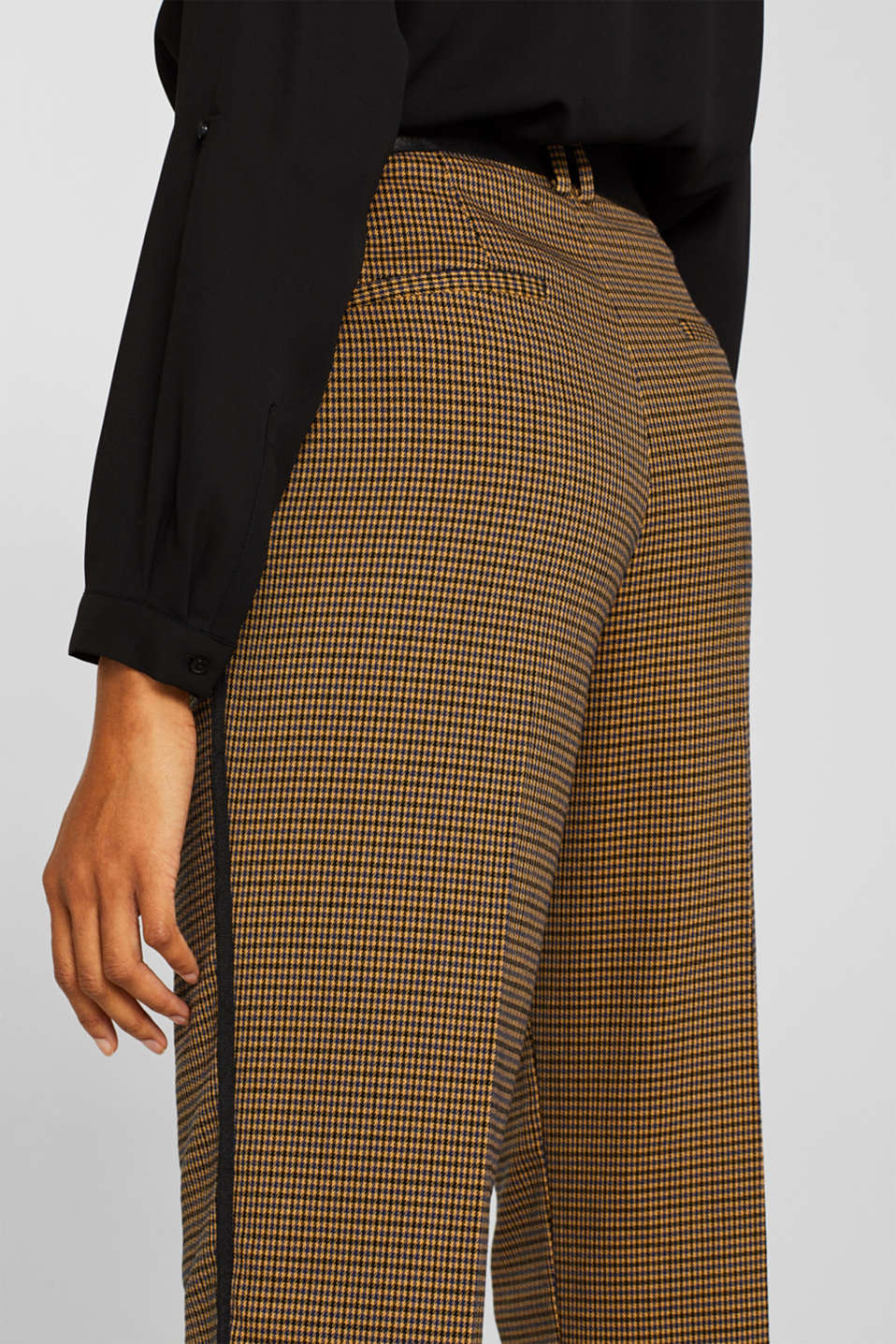 Stretch trousers with a houndstooth pattern and racing stripes, BARK, detail image number 5