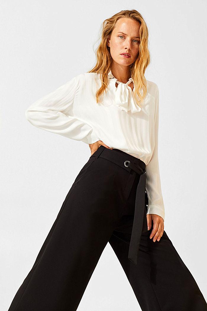 Culottes with tie-around belt, BLACK, detail image number 0