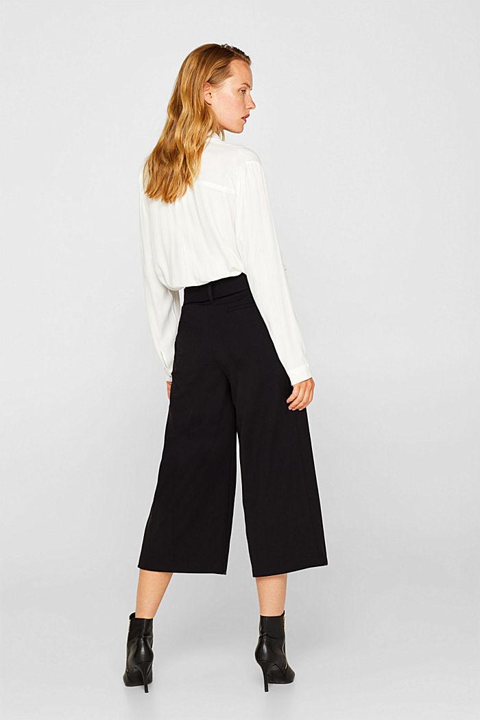 Culottes with tie-around belt, BLACK, detail image number 3