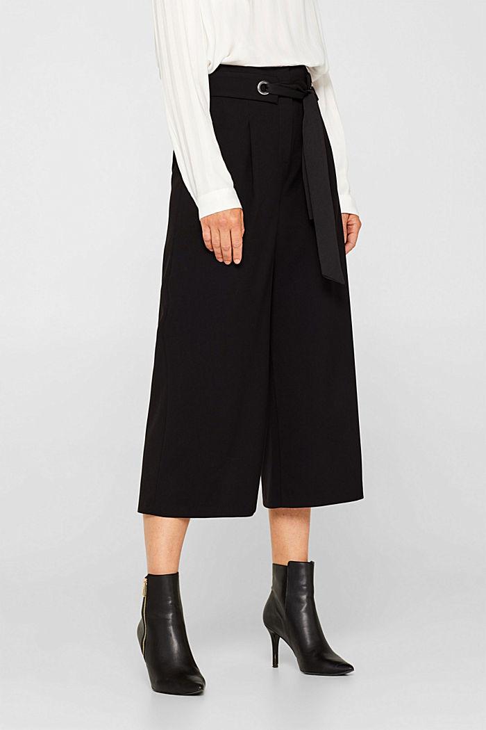 Culottes with tie-around belt, BLACK, detail image number 5