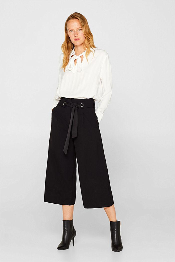 Culottes with tie-around belt, BLACK, detail image number 1