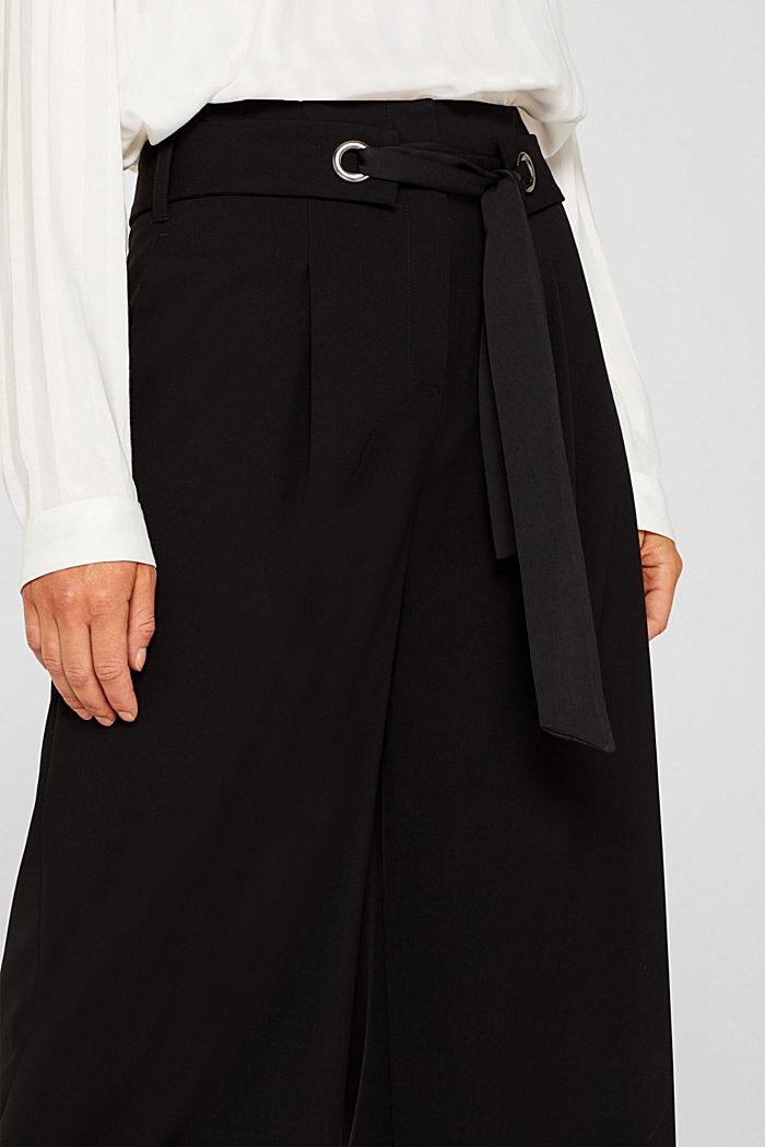 Culottes with tie-around belt, BLACK, detail image number 2