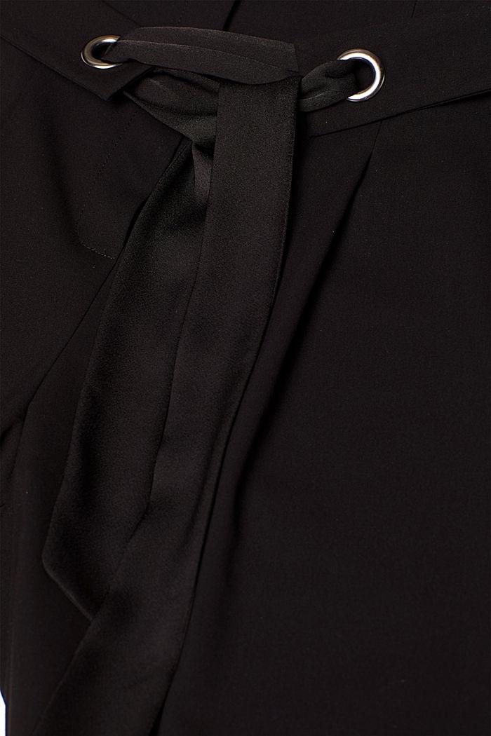 Culottes with tie-around belt, BLACK, detail image number 4