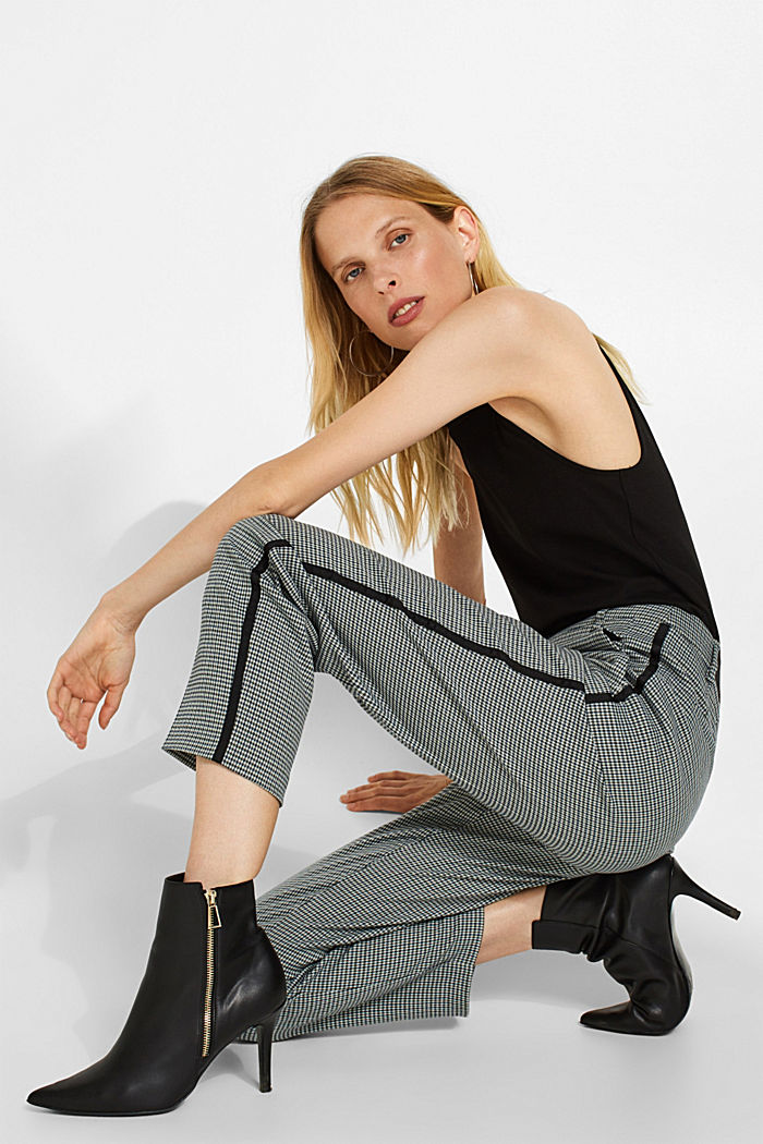 Stretch trousers with a houndstooth and a grosgrain ribbon, BOTTLE GREEN, detail image number 0