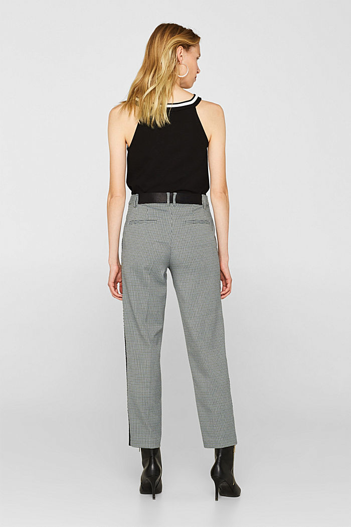 Stretch trousers with a houndstooth and a grosgrain ribbon, BOTTLE GREEN, detail image number 3