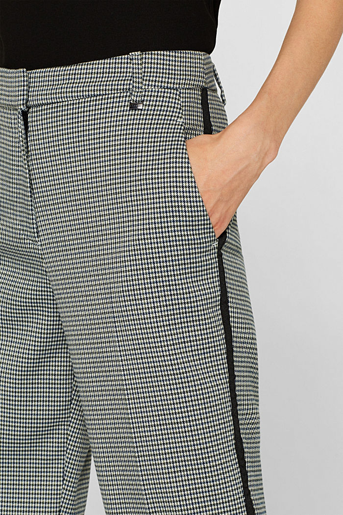 Stretch trousers with a houndstooth and a grosgrain ribbon, BOTTLE GREEN, detail image number 2