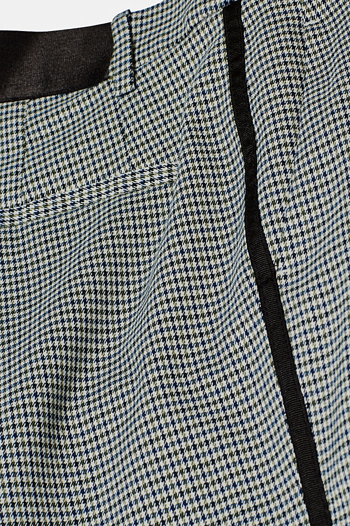 Stretch trousers with a houndstooth and a grosgrain ribbon, BOTTLE GREEN, detail image number 4