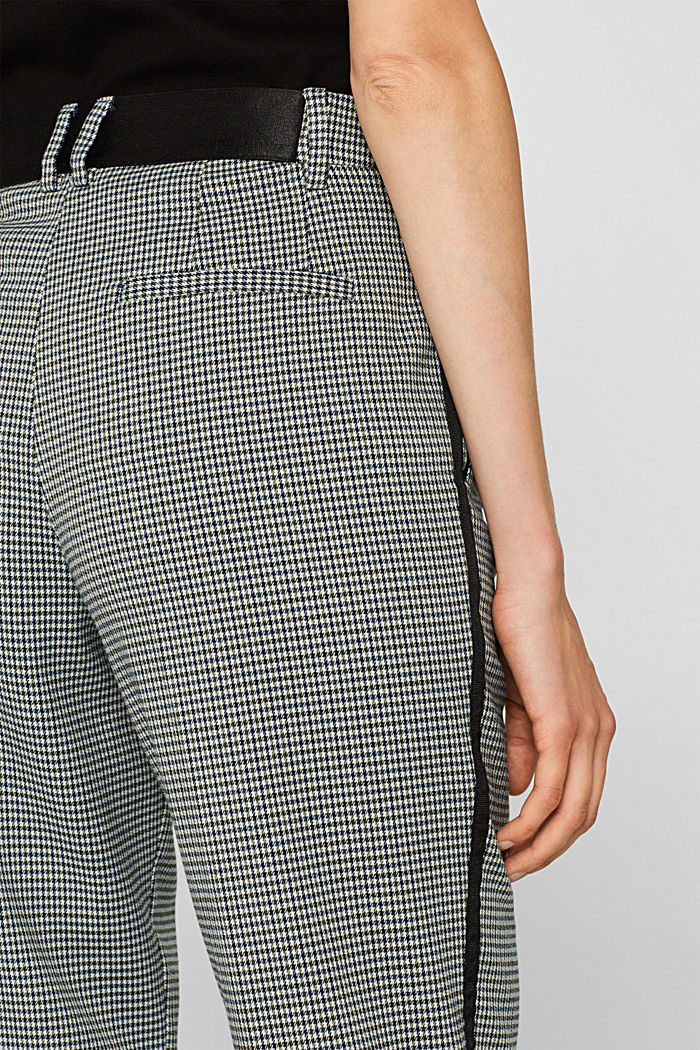 Stretch trousers with a houndstooth and a grosgrain ribbon, BOTTLE GREEN, detail image number 5