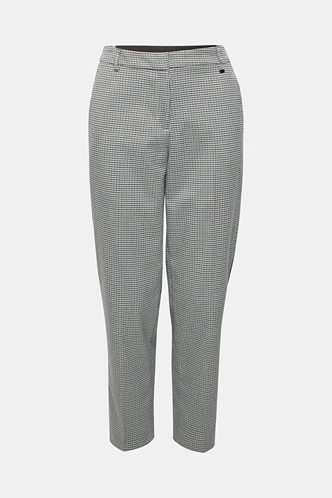 Stretch trousers with a houndstooth and a grosgrain ribbon