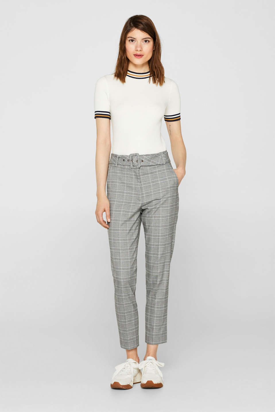 Stretch trousers with a belt, GREY, detail image number 0