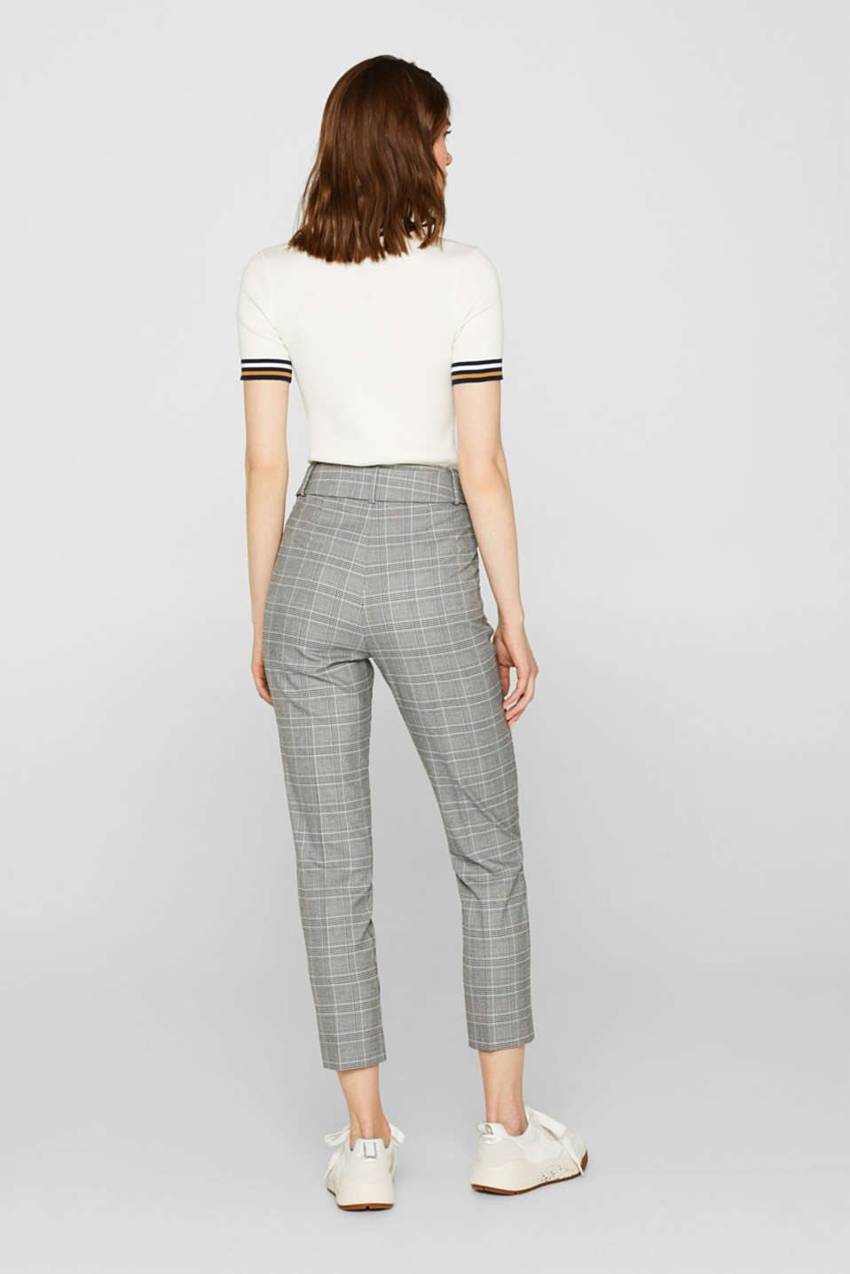 Stretch trousers with a belt, GREY, detail image number 3