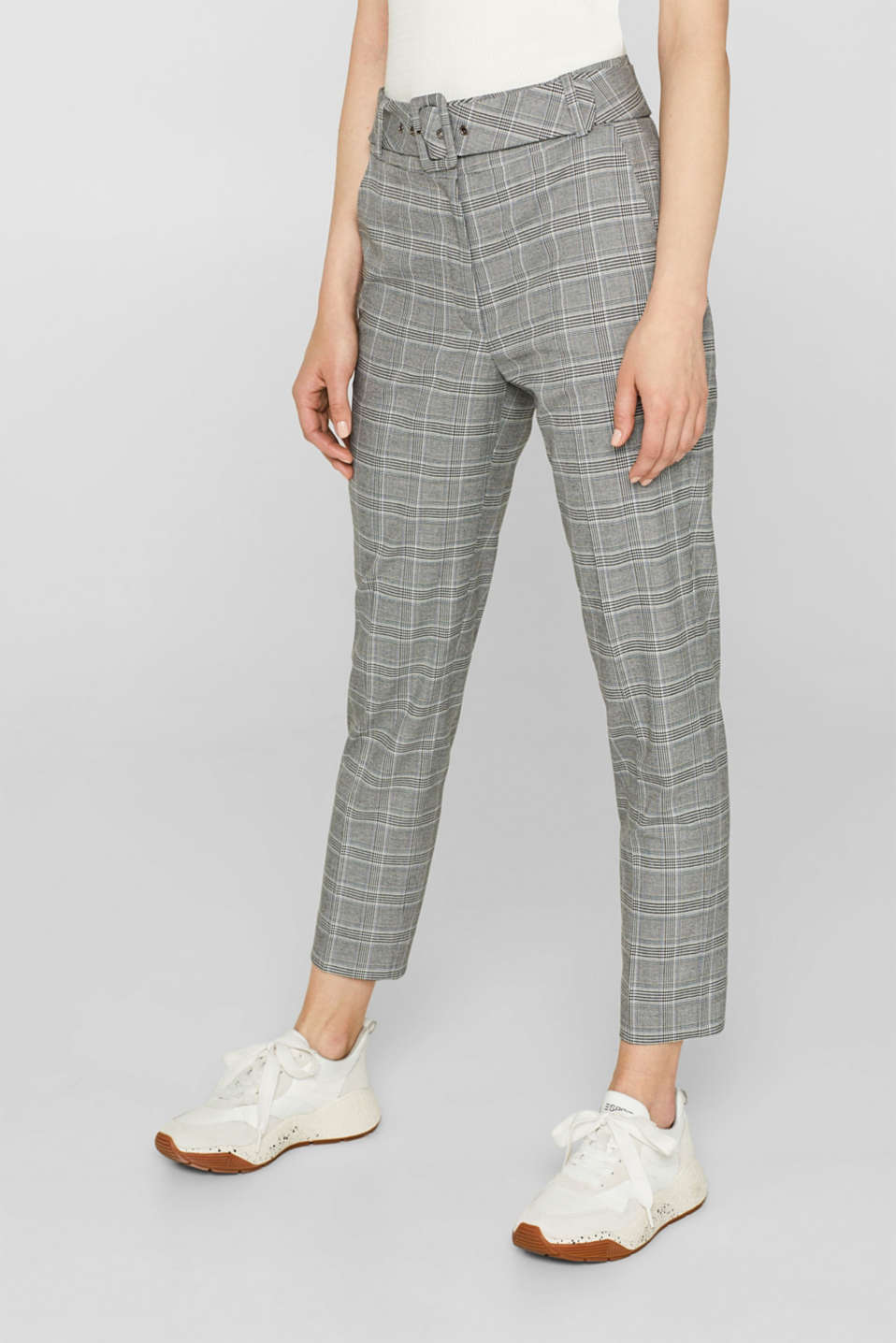 Stretch trousers with a belt, GREY, detail image number 6
