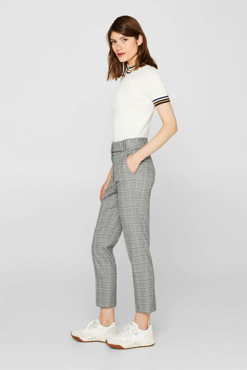 Stretch trousers with a belt, GREY, detail image number 1