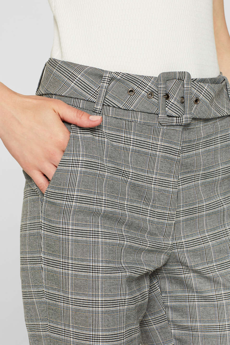 Stretch trousers with a belt, GREY, detail image number 2