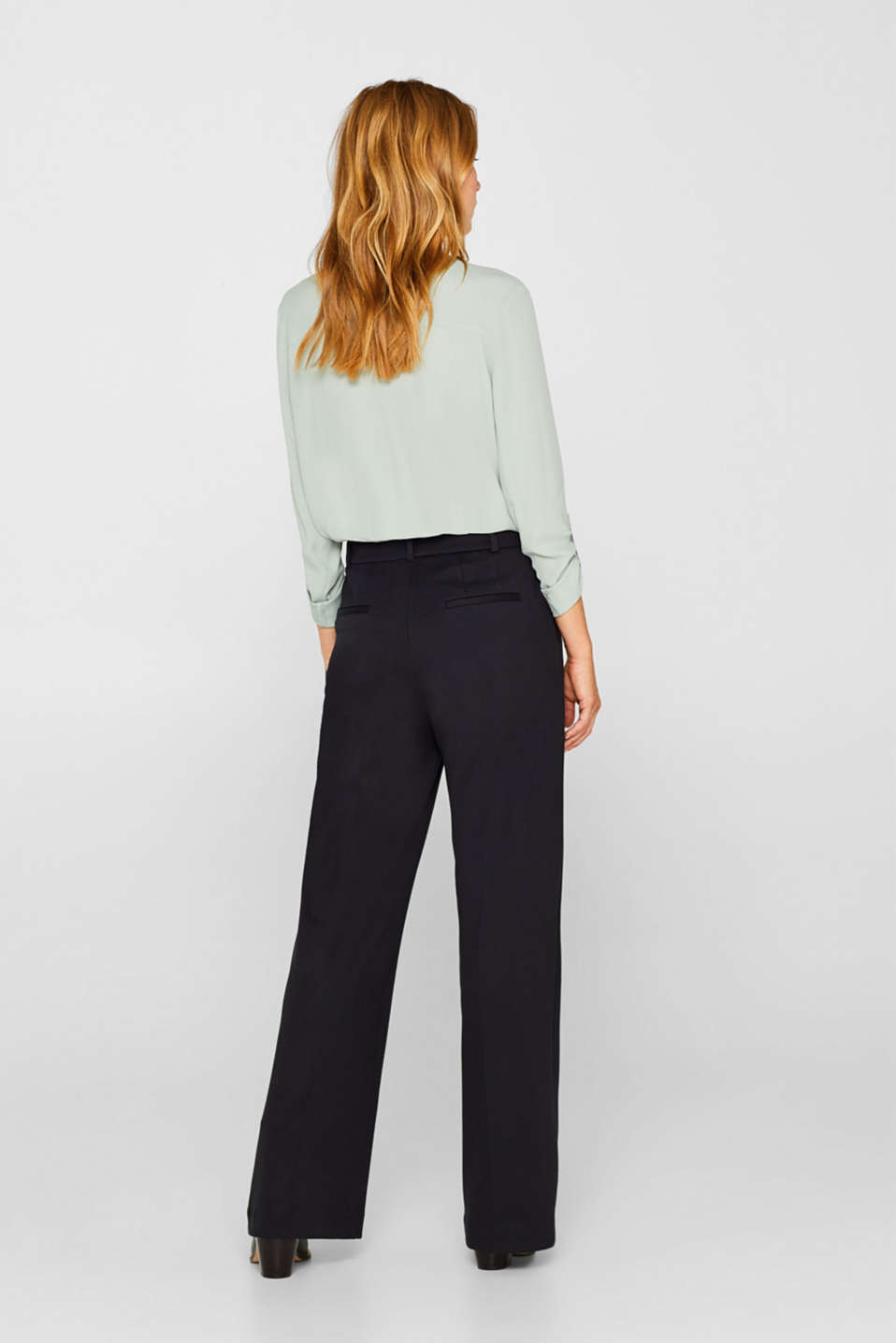 Wide jersey trousers with stretch, BLACK, detail image number 3