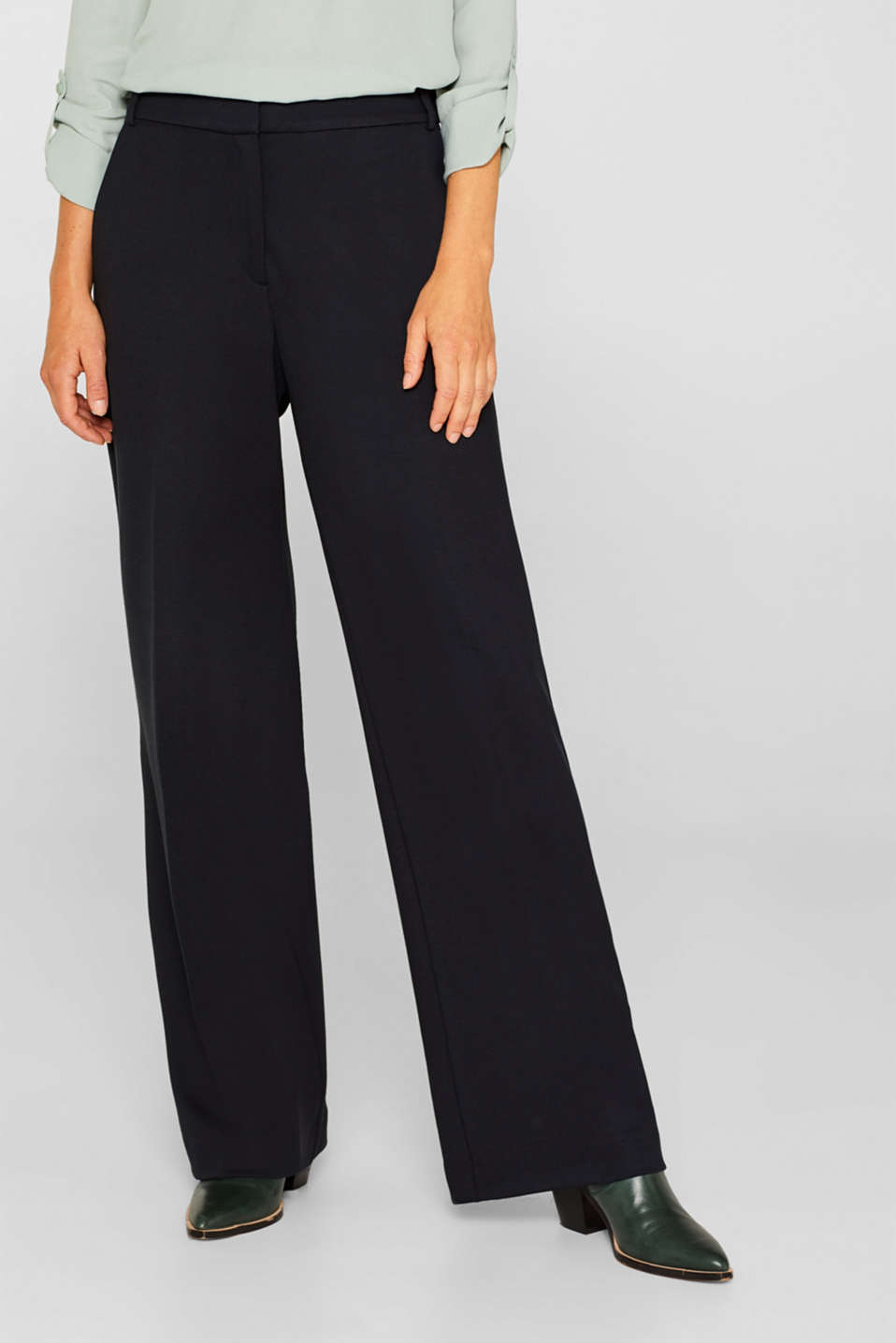 Wide jersey trousers with stretch, BLACK, detail image number 6