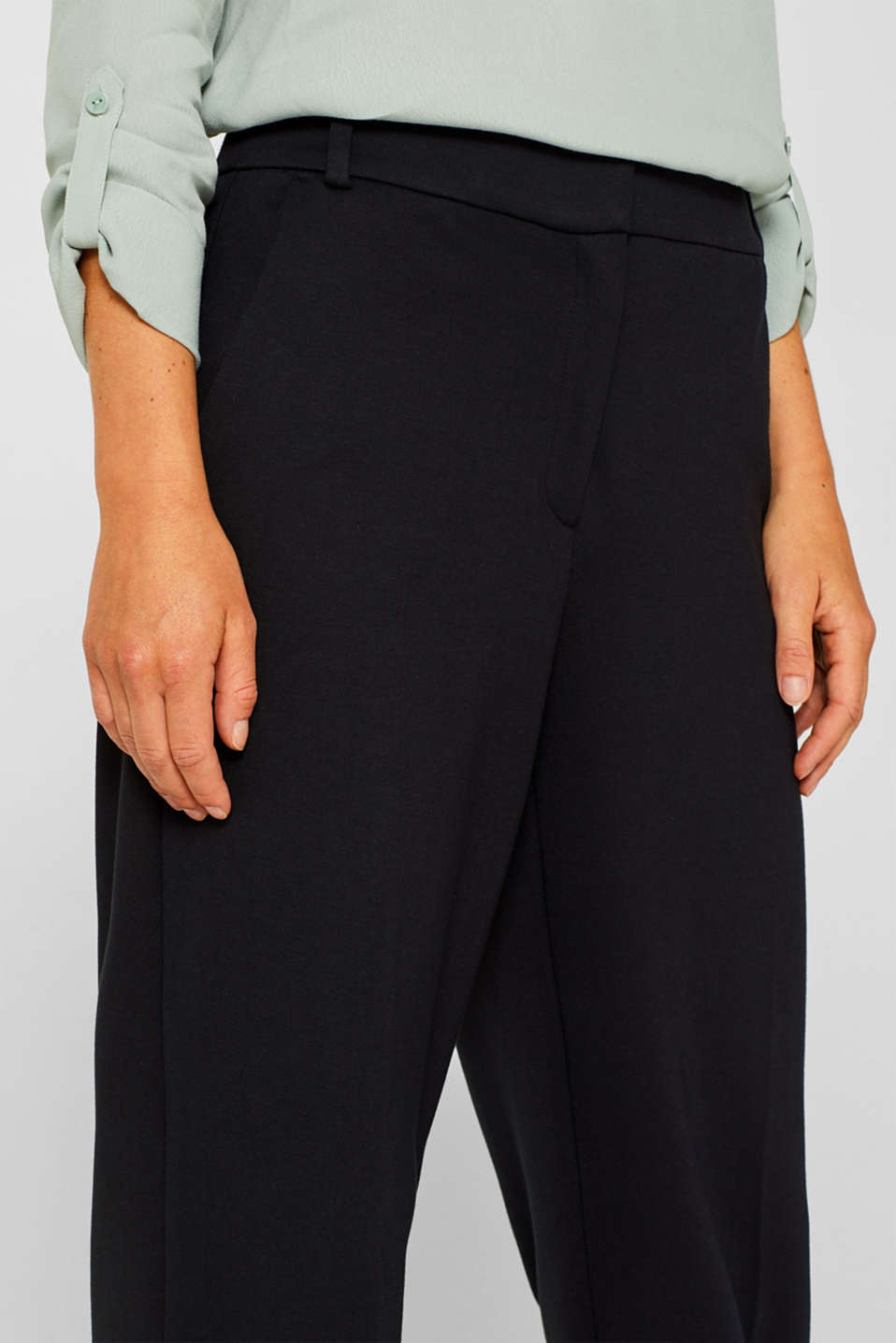 Wide jersey trousers with stretch, BLACK, detail image number 2