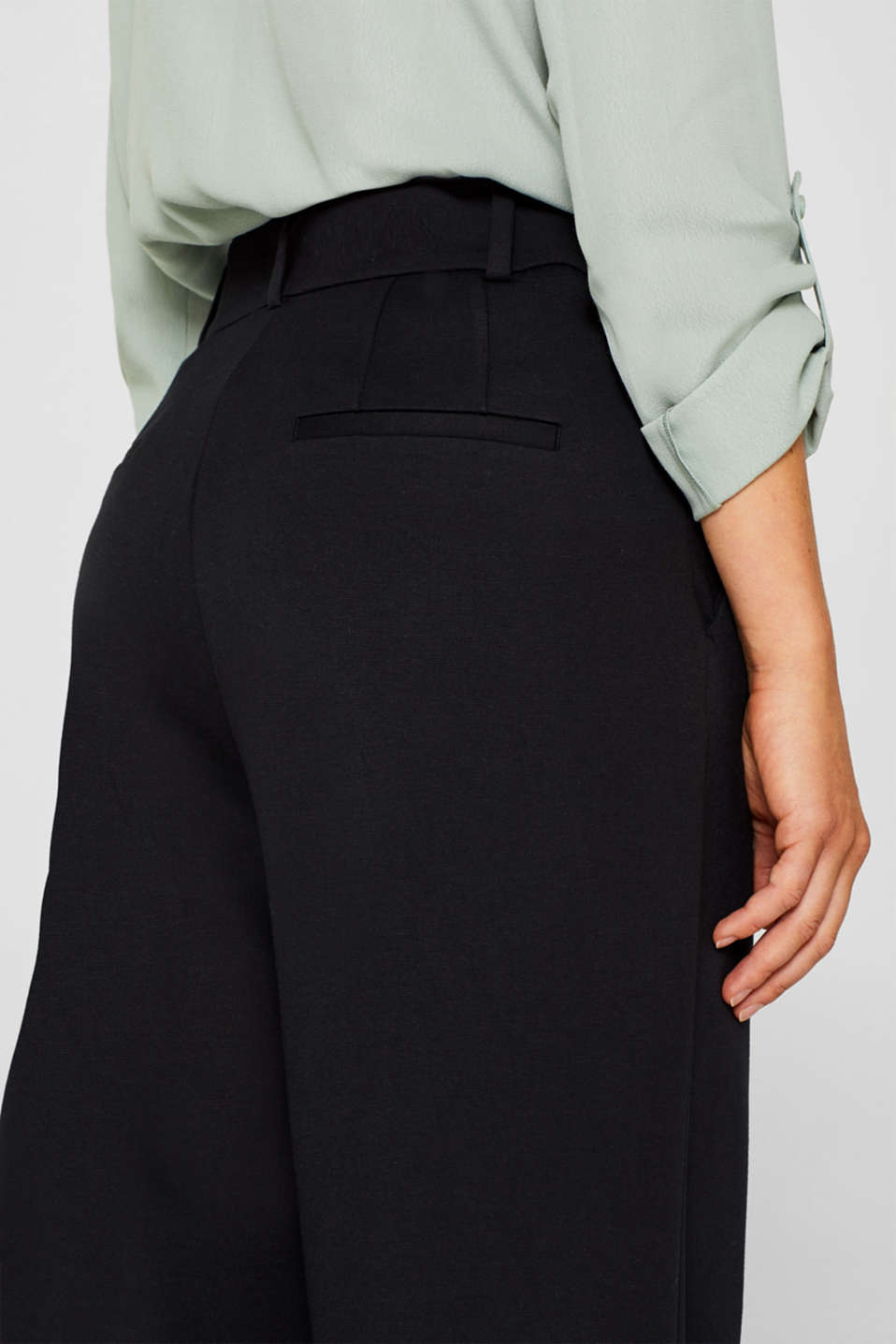Wide jersey trousers with stretch, BLACK, detail image number 4