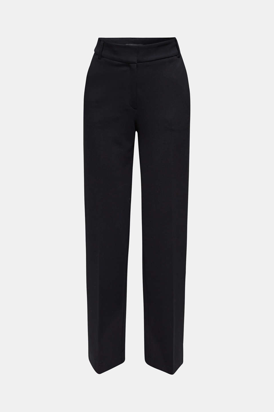 Wide jersey trousers with stretch, BLACK, detail image number 7