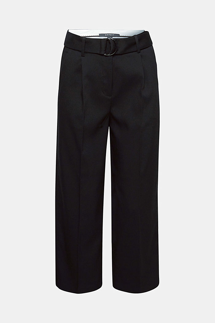 Stretch culottes with a belt, BLACK, detail image number 0
