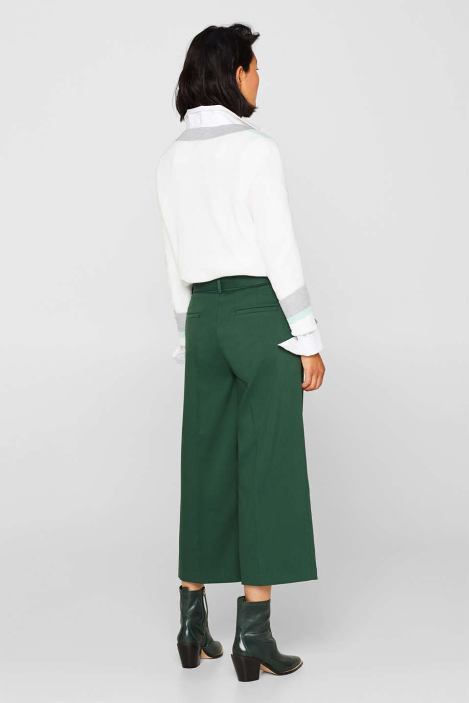Stretch culottes with a belt, BOTTLE GREEN, detail image number 3