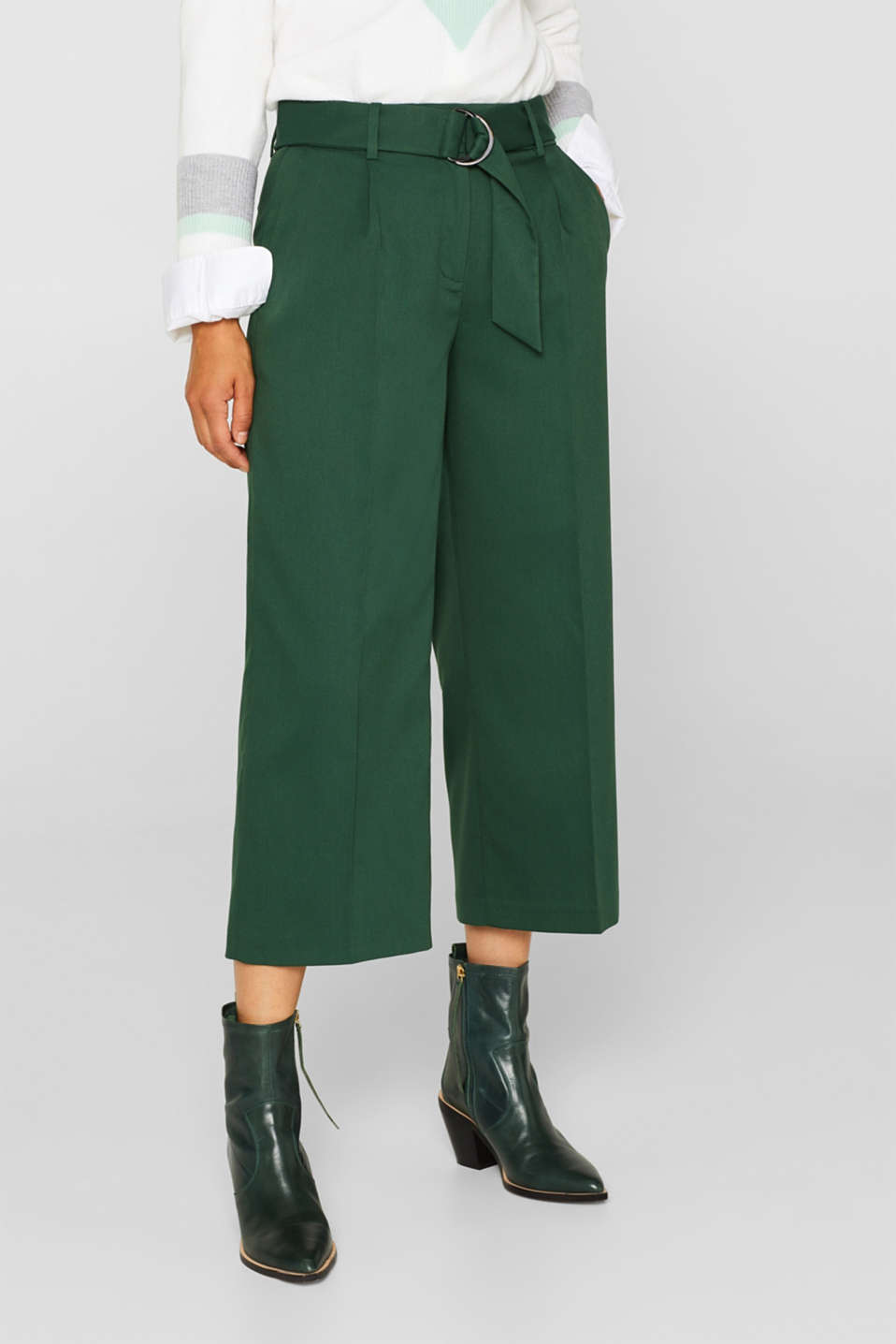 Stretch culottes with a belt, BOTTLE GREEN, detail image number 6