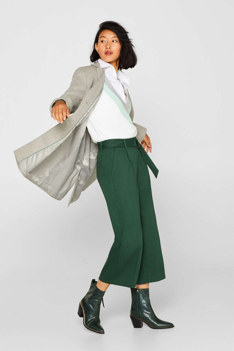 Stretch culottes with a belt, BOTTLE GREEN, detail image number 1