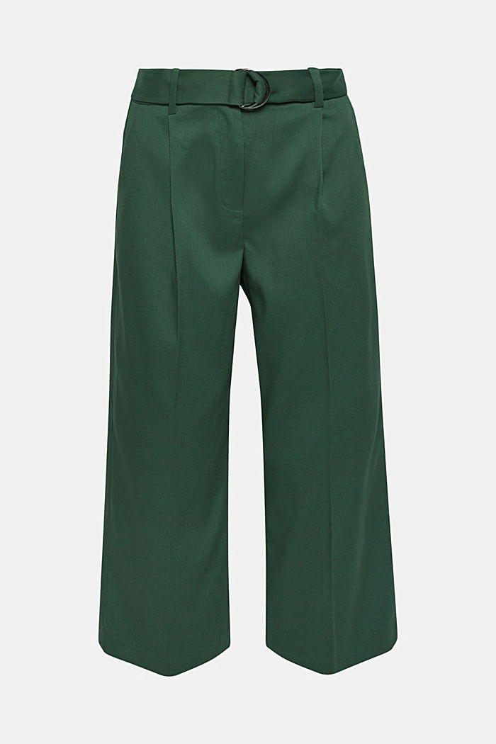 Stretch culottes with a belt, BOTTLE GREEN, detail image number 0