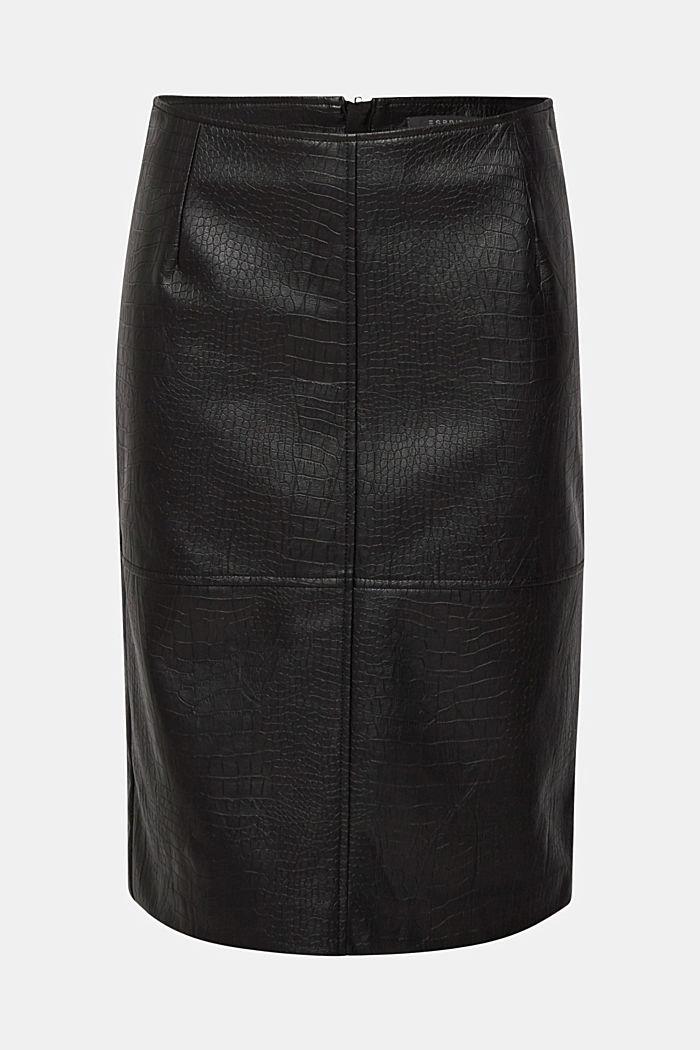 Pencil skirt in a crocodile look, BLACK, detail image number 0