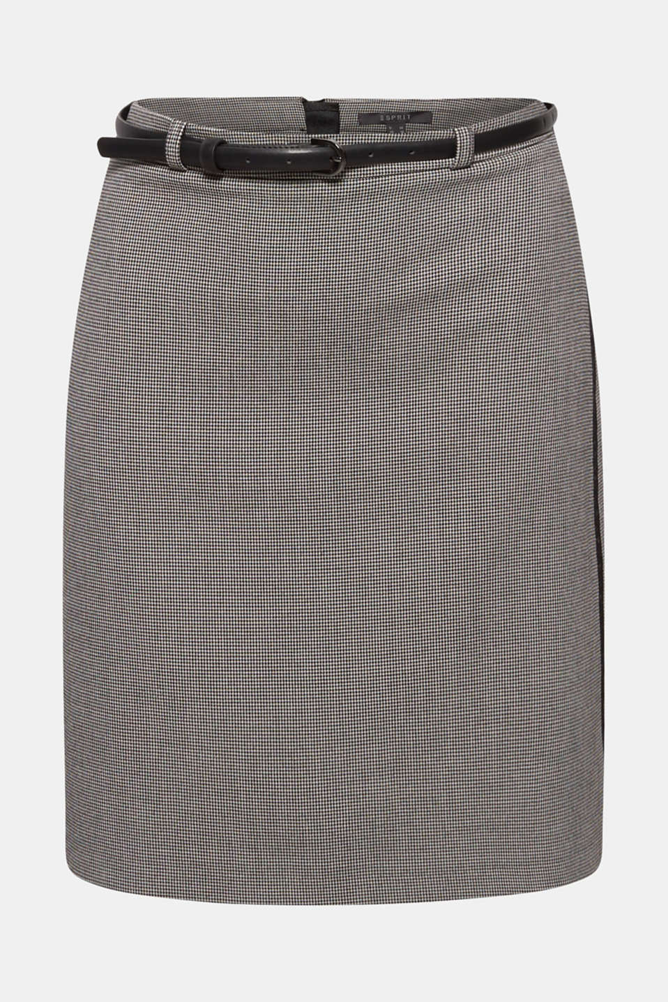 Pencil skirt with houndstooth pattern, BLACK, detail image number 6