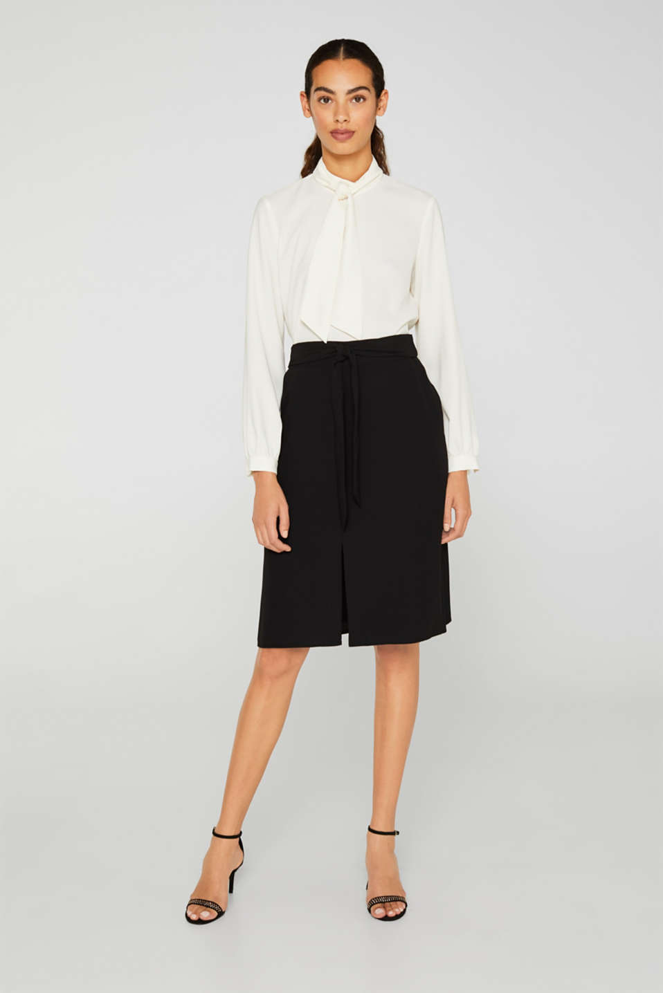 Esprit - Flared skirt with a slit and tie-around belt