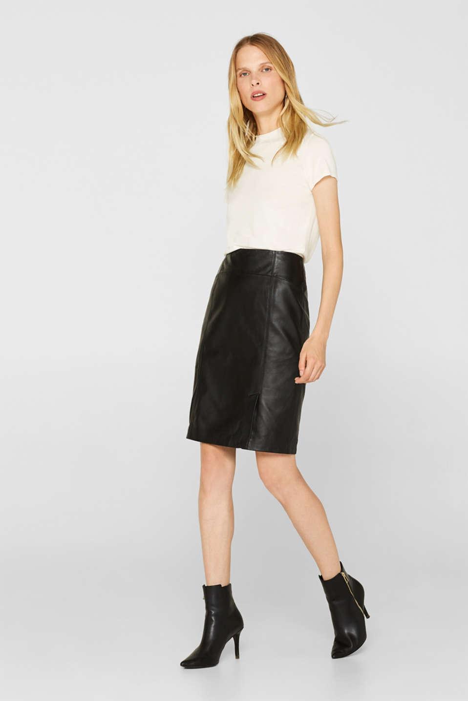 Skirts leather, BLACK, detail image number 1