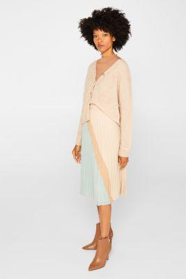 Plissé skirt in a colour block style, LIGHT AQUA GREEN, detail